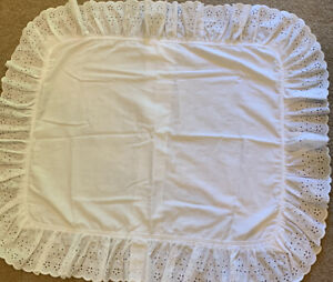 White Ruffled Eyelet Lace Embroidered Cotton Blend Single Pillow Sham USA