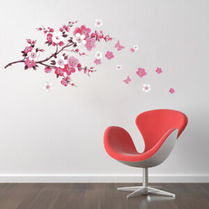 Pink Peach Blossom Flowers Tree Branch Kids Wall Stickers Art Wall Decal 90*60CM $8.49