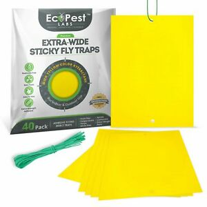 Yellow Sticky Fly Traps — 40 Pack Trap for Fruit Flies Fungus Gnats and More