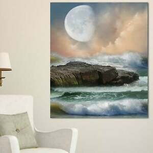 Roaring Ocean Under Large Moon Seascape Photo Canvas Art Mini $48.49