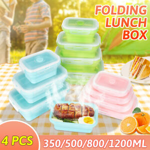 Silicone Collapsible Lunch Box Bento Travel Folding Food Container 4 Pcs Set US
