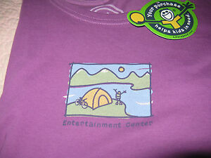 Life is Good Camping Tent Entertainment Center women#x27;s L S tee shirt S purple