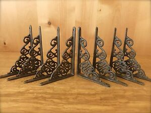 8 BROWN ANTIQUE STYLE 6.5quot; SHELF BRACKETS CAST IRON rustic garden DECORATIVE