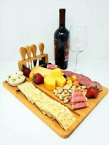 Bamboo Charcuterie Cheese Appetizer Board with Knives Set and Ceramic Bowl