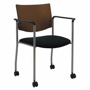 KFI Evolve Guest Chair with Arms a Chocolate Wood Back and
