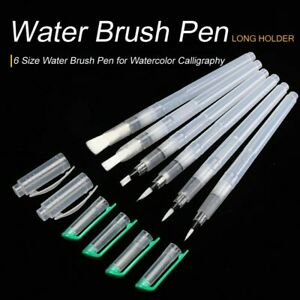 6 PACK Refillable Painting Soft Brush Water Color Drawing Pens Nylon Flat Tip