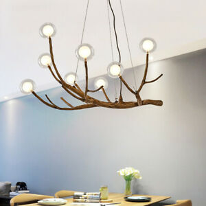 Industrial Modern Wood Branch Chandelier Glass Bubble LED Pendant Ceiling Light $349.00