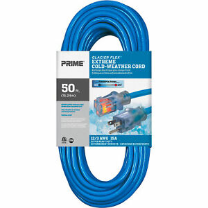 Prime Extreme Cold Weather Outdoor Extension Cord 50ft 12 3 15 Amps 125V