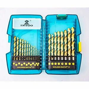 INTOO 21Pcs Drill Bit Set For Stainless Steel M2 Titanium Bits Golden Ratio