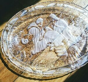 Christmas Glass Serving Tray 9quot;x7quot; Vintage Religious