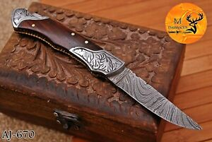 HAND FORGED DAMASCUS STEEL FOLDING POCKET KNIFE WITH WOOD HANDLE AJ 670