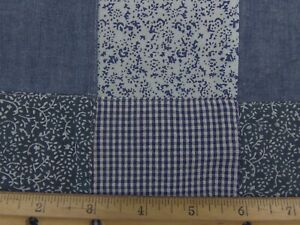 Tone on Tone Blue Patchwork Square Fabric 3quot; Squares Pre Sewn 2.5yds.x 45quot; New $20.00