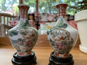 Pair of 19th Chinese Antique Famille Rose Porcelain Vases Tongzhi Dynasty Mark $200.00