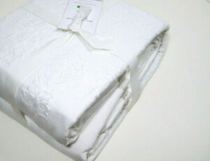 Pottery Barn White Adette Embroidered Cotton Linen Full Queen Duvet Cover New