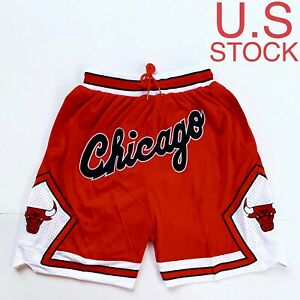 Chicago Bulls Basketball Shorts Vintage Mens Red White 97 98 Sizes S 2XL US