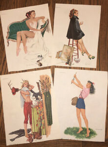 Vintage Esquire Gallery of Glamour Pinup Original Prints 4 pages 8 Prints Total $14.99