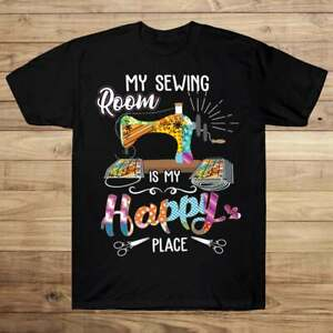 My Sewing Room Is My Happy Place Mask maker Sewing T shirt Happy T shirt $15.99