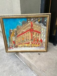 KAMIL KUBIK OIL SIGNED NYC LORD AND TAYLOR DEPT STORE CHRISTMAS PAINTING $1999.00