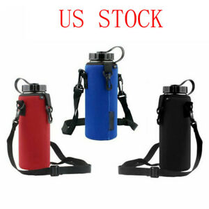 Water Bottle Carrier Bag Insulated Cup Pouch Cover w Adjustable Shoulder Strap $8.79