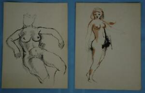 Lot of 2 Original Vintage Unsigned Original Drawings Of Nude Women $95.00