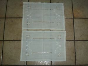 2 PC SET VINTAGE WHITE HAND EMBROIDERED NEEDLE POINT TABLECLOTH RUNNER DOILIES