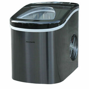Frigidaire Portable Compact Self Cleaning Ice Maker Stainless Steel Black