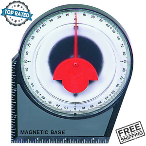 Dial Gauge Angle Finder Magnetic Based Mounted With Conversion Chart Polycast $16.14