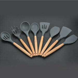 Silicone Kitchen Utensil Set Heat Resistant Cooking Tool Spatula Spoon Tong Gray