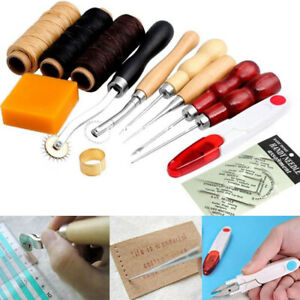 13 Leather Stitching Canvas Shoe Repair Tool Curved Sewing Needle Thread Awl Kit $12.98