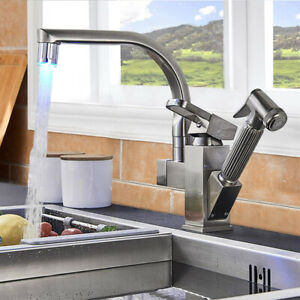 Brushed Nickel LED Kitchen Faucet With Sprayer Pull Out Single Handle Mixer Tap
