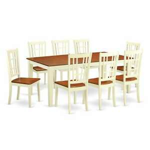 QUNI9 WHI Cherry Off white Rubberwood Kitchen Dining Table Wood Seat 9 Piece Set $1038.99