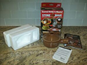 Stone Wave Microwave Cooker As Seen On TV 11 Oz Ceramic Stoneware w Recipe Book