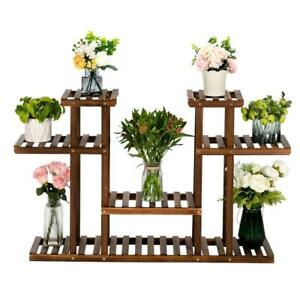 4 Tier Wood Plant Stands Flower Display Shelf Storage Rack Indooramp;Outdoor Brown