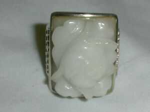 SUPER BOLD PJS STERLING WHITE STONE ROSE CARVED RING SIZE 8 1 2