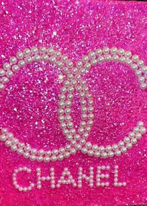 Chanel Inspired Pink Confetti Glitter Wall Canvas