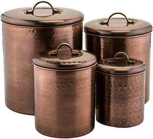 4 Piece Hammered Antique Canister Set Copper Plated Stainless Steel Construction