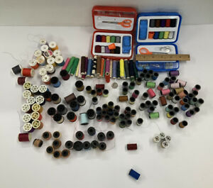Lot Antique Vintage SEWING THREAD SPOOLS ALL COLORS $13.20