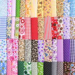 US 50Pcs 10*10cm Square Fabric Bundle Patchwork Clothing Sewing Quilting Craft $6.49