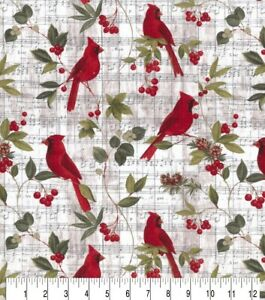 Christmas Fabric Red Cardinals amp; Holly on Beige Music Notes Cotton YARD $10.93