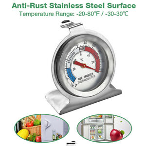 Refrigerator Freezer Thermometer Fridge DIAL Type Stainless Steel Hang Stand $4.79