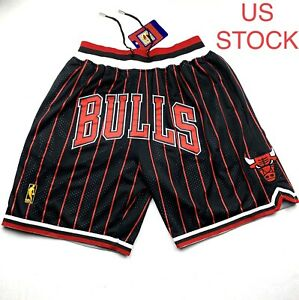 Chicago Bulls Basketball Shorts Vintage Mens Pinstripes 97 98 Sizes S 2XL US