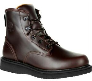 GEORGIA BOOTS Brown 6quot; Wedge Soft Toe Work Boots GB00361 Men#x27;s 10 M
