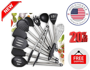 11 Silicone Cooking Utensils Kitchen Utensil Set Stainless Steel Silicone