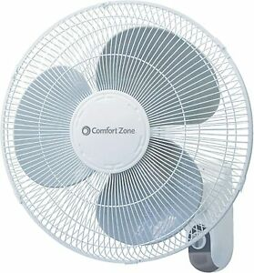 Comfort Zone CZ16W Oscillating 16 inch 3 Speed Wall Mount Fan White with Adjusta