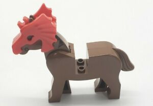 Lego Brown Horse With Movable Head And Red Armour Helm $5.99