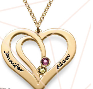 ENGRAVED COUPLES BIRTHSTONE NECKLACE IN 18K GOLD GP VERMEIL