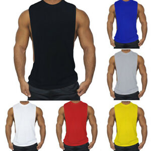 Mens Sleeveless Sports Plain Tank Vest Casual Loose Gym Muscle T Shirts Tops Tee $9.29