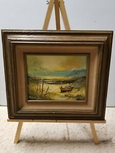 SEASCAPE OIL ON CANVAS PAINTING Signed Framed 8x10 $40.00