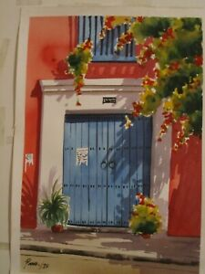 Watercolor paintingoriginalof the old city of Cartagena Colombia beautiful. $55.00