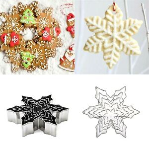 5Pcs Set Christmas Snowflake Molds Stainless Steel Cookie Cutters Cake Biscuit